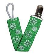 Green Snowflake Ribbon Pacifier Clip - $6.50