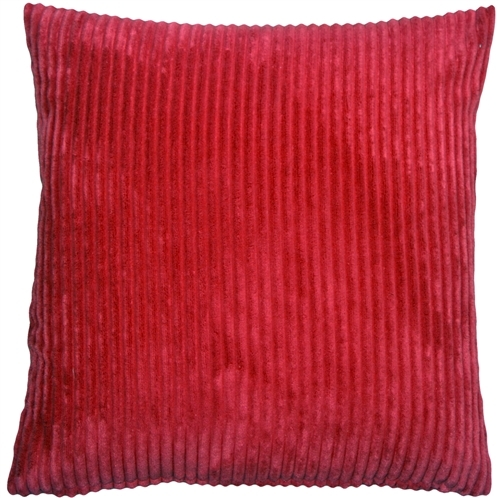 Pillow Decor - Wide Wale Corduroy 22x22 Red Throw Pillow