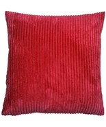 Pillow Decor - Wide Wale Corduroy 22x22 Red Throw Pillow - $44.95