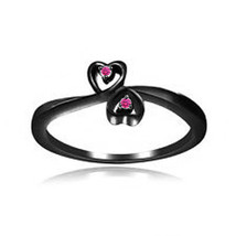 Black Gold Plated 925 Silver Beautiful Pink Sapphire Heart shape Promise Ring - £52.98 GBP