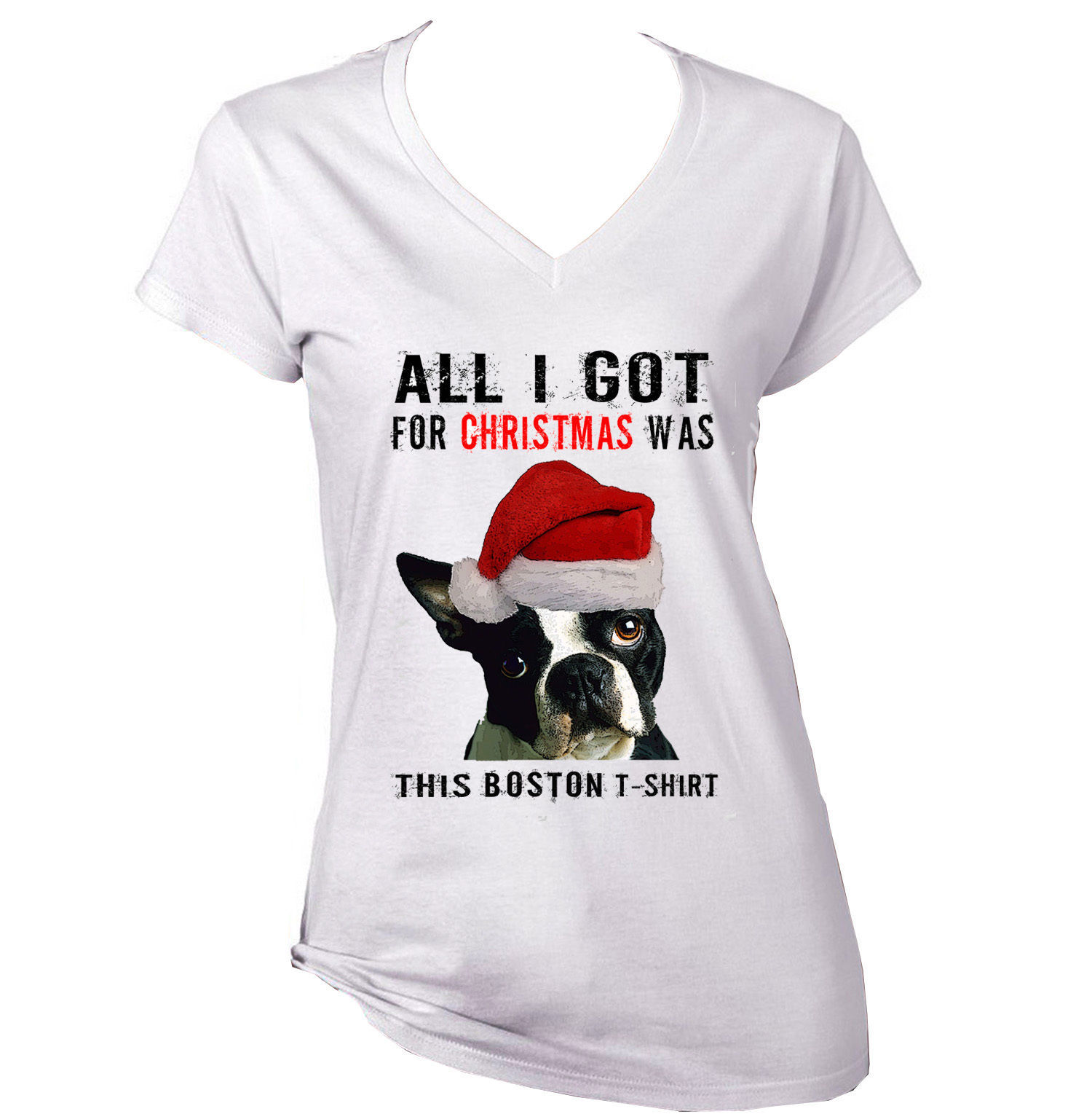 ALL I GOT FOR CHRISTMAS- BOSTON TERRIER TSHIRT  - NEW WHITE COTTON LADY TSHIRT