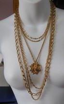 Vintage Monet  6 Layer Chain Star Pendent Necklace - $83.16