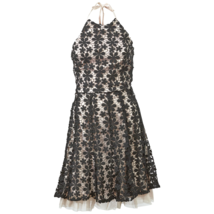 Jessica Simpson Womens Lace Fit and Flare Halter Dress Black/Pink 6 #NHWFC-M145 - $44.99