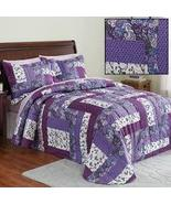Caledonia Lavender Floral Patchwork Quilted Medium-Weight Bedspread, Pur... - $47.62