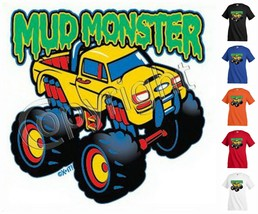 MUD MONSTER car truck T-shirt Kid's toddler Children Unisex Girl Boy Fun... - $12.99