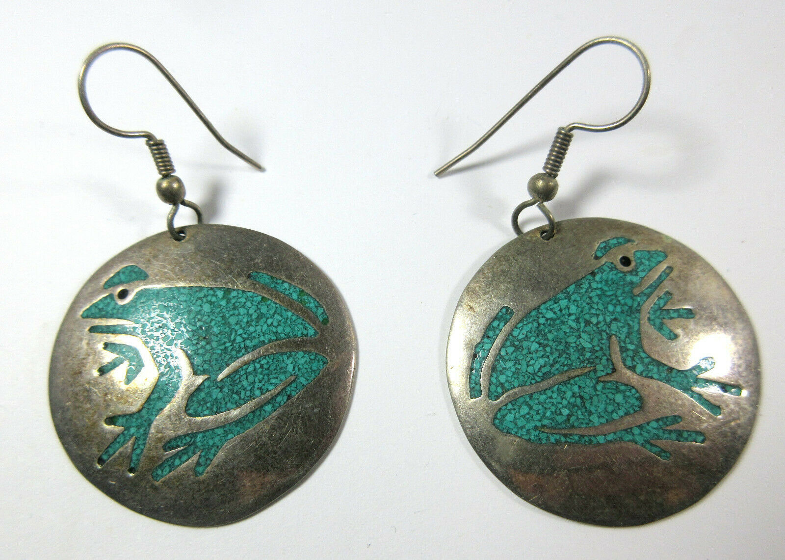 Primary image for Vintage Alpaca Mexico Silver Frog Crushed Turquoise Chip Inlay Circle Earrings