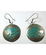 Vintage Alpaca Mexico Silver Frog Crushed Turquoise Chip Inlay Circle Ea... - $19.75