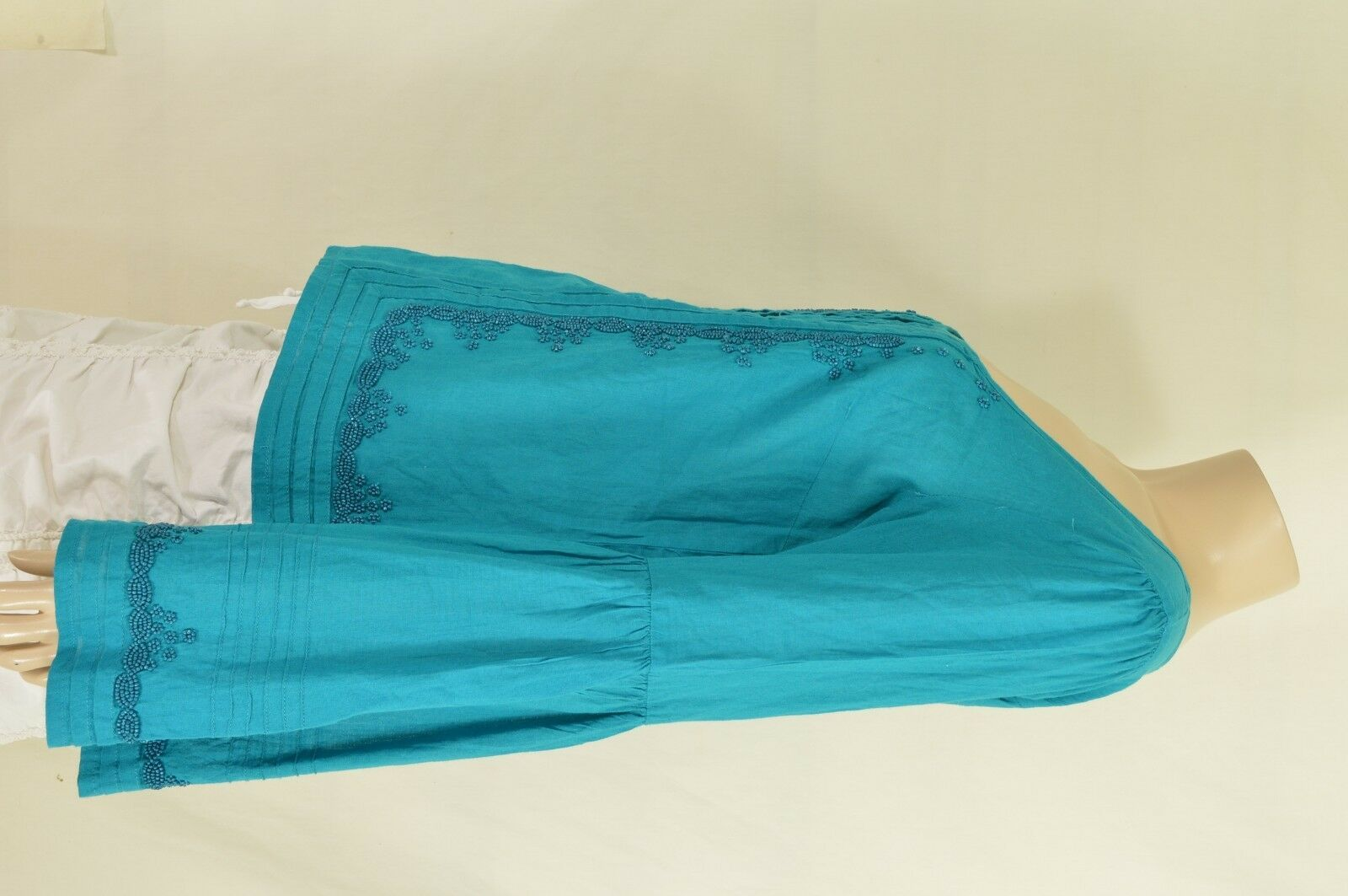 Free People top SZ S turquoise teal beaded long bell sleeves hippie boho gypsy image 12