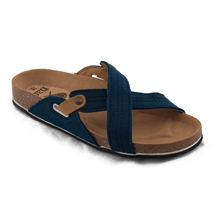 nae Flat vegan sandal blue strappes cross made on recycled PET - $129.70 CAD+