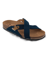 nae Flat vegan sandal blue strappes cross made on recycled PET - €83,77 EUR+