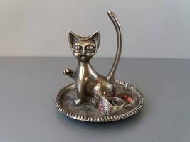 Vintage Cat Ring Holder Metal Ring Holder Cat Ring Storage Dish Jewelry ... - $19.95
