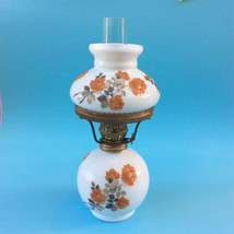 VINTAGE DECORATIVE OIL LAMP Orange Roses Bell Shade in Ring + Funnel 24 ... - $29.11