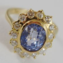 18K YELLOW GOLD BAND FLOWER RING WITH DIAMONDS AND BLUE TOPAZ, MADE IN ITALY image 3