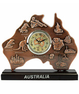 Australia Souvenir Table Desktop Clock Copper Map Cities Landmark Kangaroo Koala - $24.26