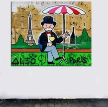 "Alec Monopoly Banksy Print on Canvas graffiti art decor Paris 28x36"" - $33.48"