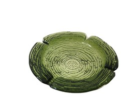 Vtg ANCHOR HOCKING Soreno Lido Avocado Green Glass Ashtray Textured Bark... - $17.50