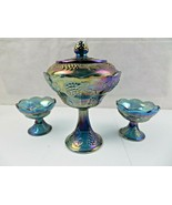 RARE CARNIVAL GLASS ELECTRIC BLUE IRIDESCENT GRAPE CABLE CANDY DISH n CUPS - $78.44