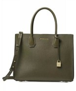 NWT MICHAEL KORS MERCER LARGE PEBBLED ACCORDION TOTE OLIVE/GOLD - $188.09