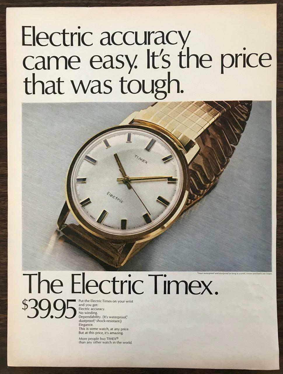 Primary image for ORIGINAL 1968 Timex Electric Wristwatch PRINT AD