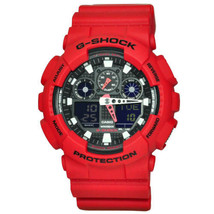 G-Shock Analog Digital Red Resin Casio Black Dial Men's Watch GA-100B-4ADR - $118.79