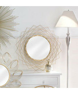 """Cool House Mirror 24"""" x 24"""" Round Gold Wire Modern Decorative Wall Hall ... - $89.57"""