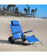 2-in-1 Beach Folding Lounge Pool Chair Cargo Porch Wheels Cart Outdoor S... - $123.45