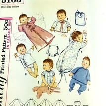 Vintage Sewing Pattern Simplicity 1950s 5163 Baby Infant Layette Clothes... - $12.86