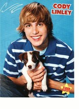 Cody Linley teen magazine pinup clipping holding a puppy blue shirt Tiger Beat