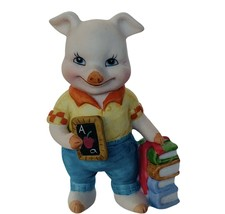 Pig Figurine Bronson vtg hog piglet anthropomorphic decor gift BC teache... - $23.17