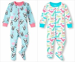 NWT The Childrens Place Panda Dinosaur Girls Stretchie Footed Sleeper Pajamas - $8.99