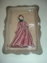 Florence Ceramics Framed Lady Figurine Plaque Rose Colored Dress - $39.99