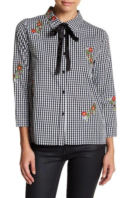 English Factory Women's Floral Embroidered Gingham Shirt Black Size Small