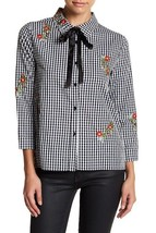 English Factory Women's Floral Embroidered Gingham Shirt Black Size Small - $19.79