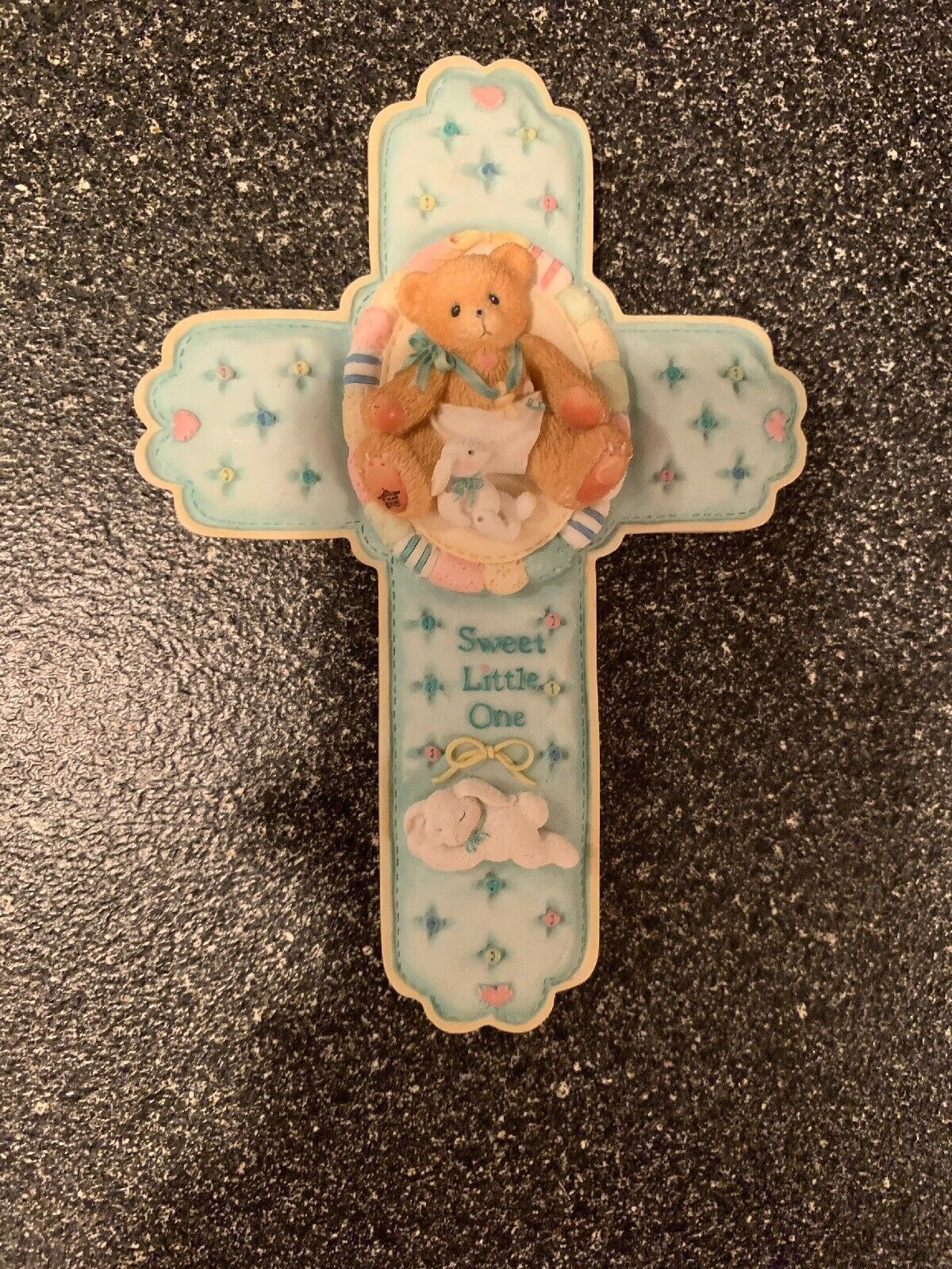 1996 Cherished Teddies Sweet Little One Baby Cross Wall Hanging 203742 Rare New