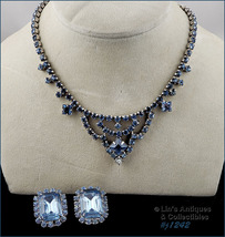 Vintage Shades of Blue Rhinestone Necklace and Earrings (#J1242) - $48.00
