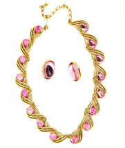 Vintage Big Trifari GoldPlated Pink Jelly Statement Necklace Earring Jew... - $179.99