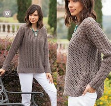 Z615 Crochet PATTERN ONLY Easy Top-Down Macchiato Pullover Sweater Patte... - $8.50