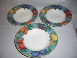 "3 Victoria Beale FORBIDDEN FRUIT Rimmed Soup Bowls 8 1/2 "" D  Excellent - $11.43"