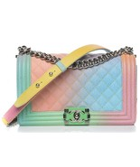 AUTHENTIC CHANEL LIMITED EDITION RAINBOW QUILTED CAVIAR MEDIUM BOY FLAP BAG  - $6,299.99