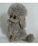 60s Mod French Poodle Sawdust Vtg Toy Velvet Grey Big Eyes Sitting Plush... - $29.69