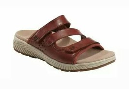 Earth Slide Sandal Size 10W Red Leather Bordeaux Mira Loures Open Back C... - £48.48 GBP