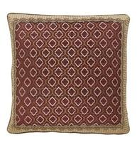Croscill Esmeralda Bordeaux Gold Euro Pillow Sham 26x26 Quatrefoil Europ... - $49.38