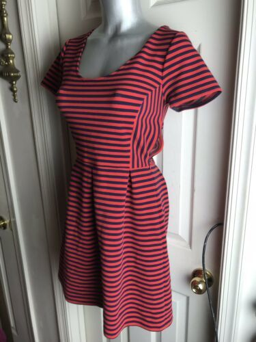 J. Crew Womens -Size 4 -Red/Navy Stripe Scoop Neck S/S Ponte Dress -A0120