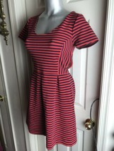 J. Crew Womens -Size 4 -Red/Navy Stripe Scoop Neck S/S Ponte Dress -A0120 - $29.69