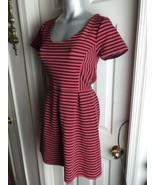 J. Crew Womens -Size 4 -Red/Navy Stripe Scoop Neck S/S Ponte Dress -A0120 - $29.69