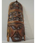 "DETAILED Ornate Carved Wood Beadworked Mask 19"" LARGE Striking! - $52.00"