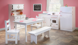 7 Pc Toy Kitchen Play Set Refrigerator Hutch Sink Stove Table Chairs Kids Child - $1,581.99