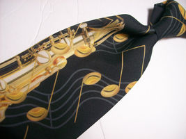 RALPH MARLIN  Saxaphone NOTES  100 SILK Necktie s 8-317c image 4