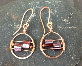 Handmade copper earrings: circles wire wrapped with square red glass beads - $25.00