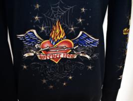 Bcbg Hoodie Jacket Top M Black Cotton Blend Zipper Front Flaming Hearts Soft - $22.50
